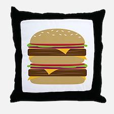 Double Burger Throw Pillow