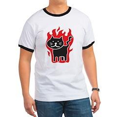 Flaming Cat Ringer T