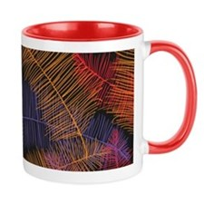 Coloured Feathers on Black Mugs