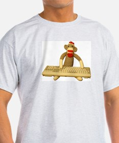 Code Sock Monkey Ash Grey T-Shirt