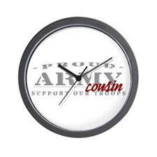Proud Army Cousin (red) Wall Clock