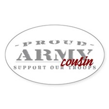 Proud Army Cousin (red) Oval Decal