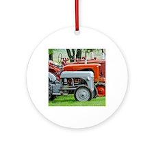 Old Farm Tractor Round Ornament