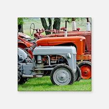 """Old Farm Tractor Square Sticker 3"""" x 3"""""""