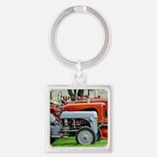 Old Farm Tractor Square Keychain