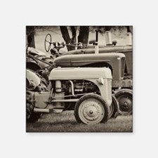 "Old Farm Tractor Square Sticker 3"" x 3"""