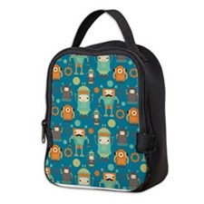 Robot Retro Pattern Neoprene Lunch Bag