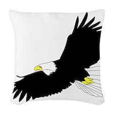 Bald Eagle Flying Woven Throw Pillow