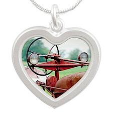 Farm Tractor  Silver Heart Necklace