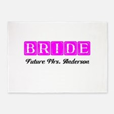 Hot Pink Bride Personalized 5'x7'Area Rug