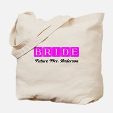 Hot Pink Bride Personalized Tote Bag