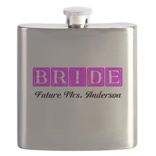 Hot Pink Bride Personalized Flask