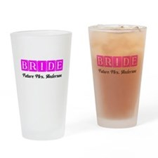 Hot Pink Bride Personalized Drinking Glass