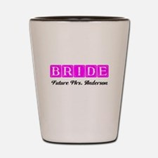 Hot Pink Bride Personalized Shot Glass