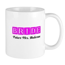 Hot Pink Bride Personalized Mugs