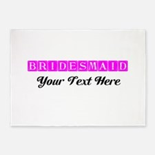 Pink Personalized Bridesmaid 5'x7'Area Rug