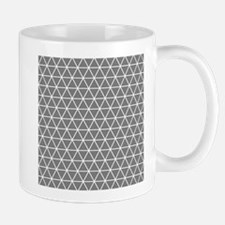 Gray White Triangle Geometrical Pattern Mugs