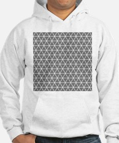 Gray White Triangle Geometrical Pattern Hoodie