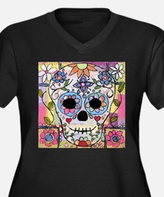 Mexican Flower Skull Plus Size T-Shirt