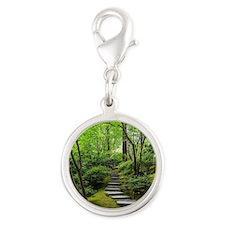 garden path Silver Round Charm