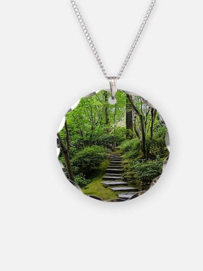 garden path Necklace Circle Charm