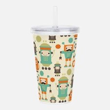 Cute Robot Lover Acrylic Double-wall Tumbler