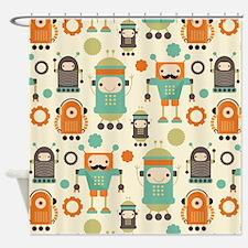 Cute Robot Lover Shower Curtain
