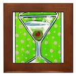 Polka Martini Framed Tile