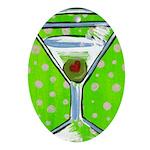 Polka Martini Oval Ornament