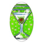Polka Martini Oval Sticker
