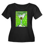 Polka Martini Women's Plus Size Scoop Neck Dark T-