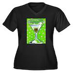 Polka Martini Women's Plus Size V-Neck Dark T-Shir