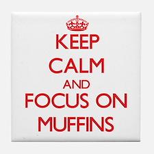 Cute I heart muffins Tile Coaster