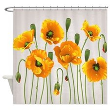 Golden California Poppy Shower Curtain