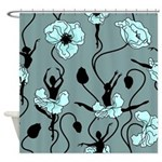 Ballerina Poppies In Teal Shower Curtain