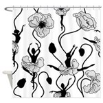 Ballerina Poppies In Black And Whiteshower Curtain
