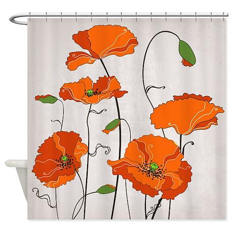 Retro Orange Poppies Shower Curtain  Orange Shower Curtain