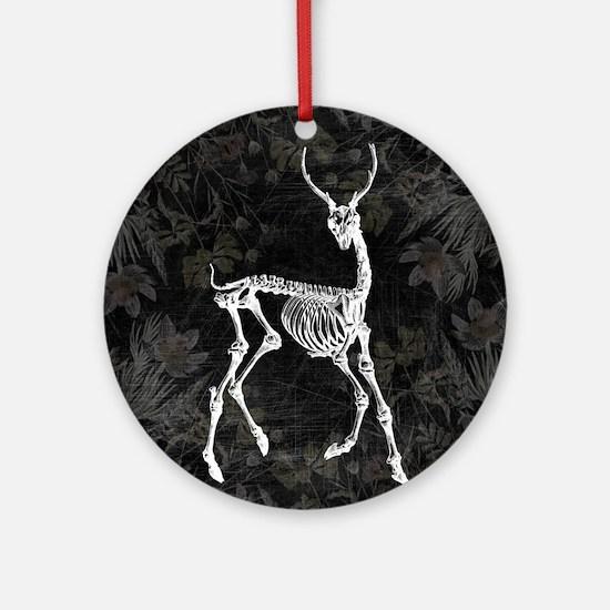 Prancing Deer Skeleton Ornament (Round)