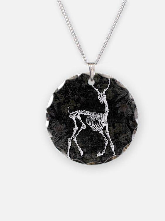 Prancing Deer Skeleton Necklace