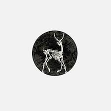 Prancing Deer Skeleton Mini Button