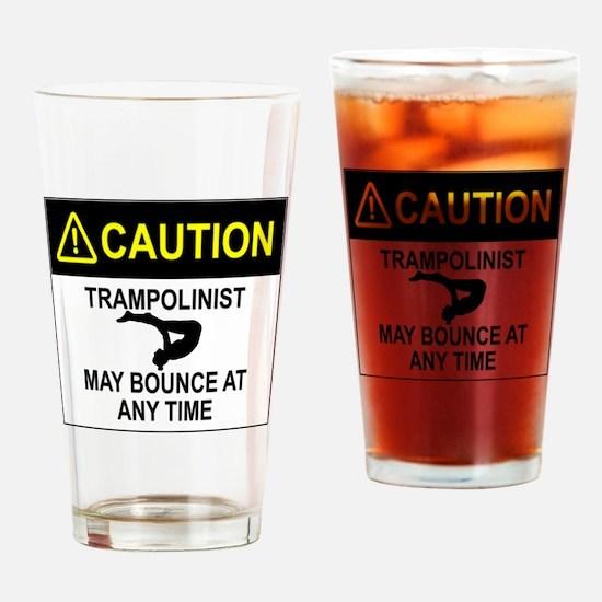 Caution Trampolinist Drinking Glass