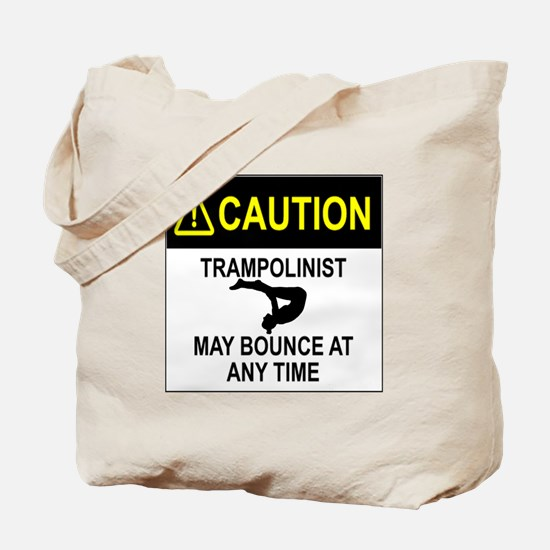 Caution Trampolinist Tote Bag
