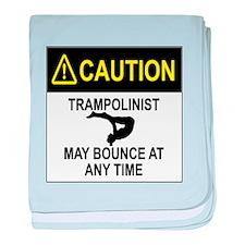 Caution Trampolinist baby blanket