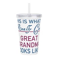 Cute Worlds greatest great grandma Acrylic Double-wall Tumbler