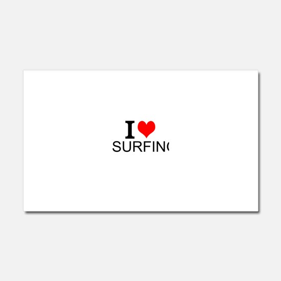 I Love Surfing Car Magnet 20 x 12