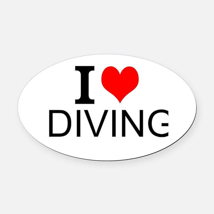I Love Diving Oval Car Magnet