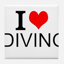 I Love Diving Tile Coaster
