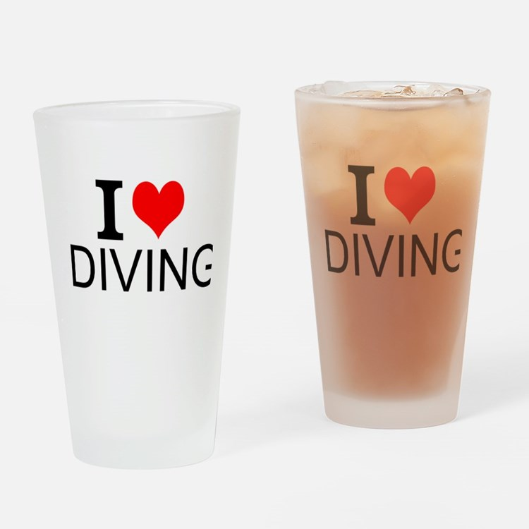 I Love Diving Drinking Glass