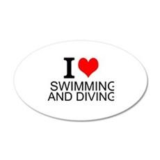 I Love Swimming And Diving Wall Decal