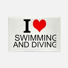 I Love Swimming And Diving Magnets